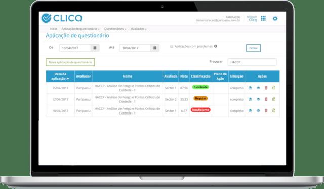 Monitoramento de dados usando aplicativo CLICQ