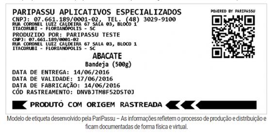 Etiquetas rastreabilidade Paripassu