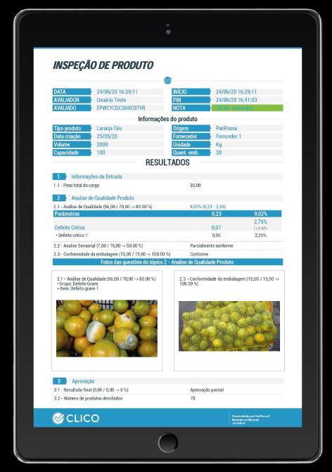 Inspeção de produto App CLICQ